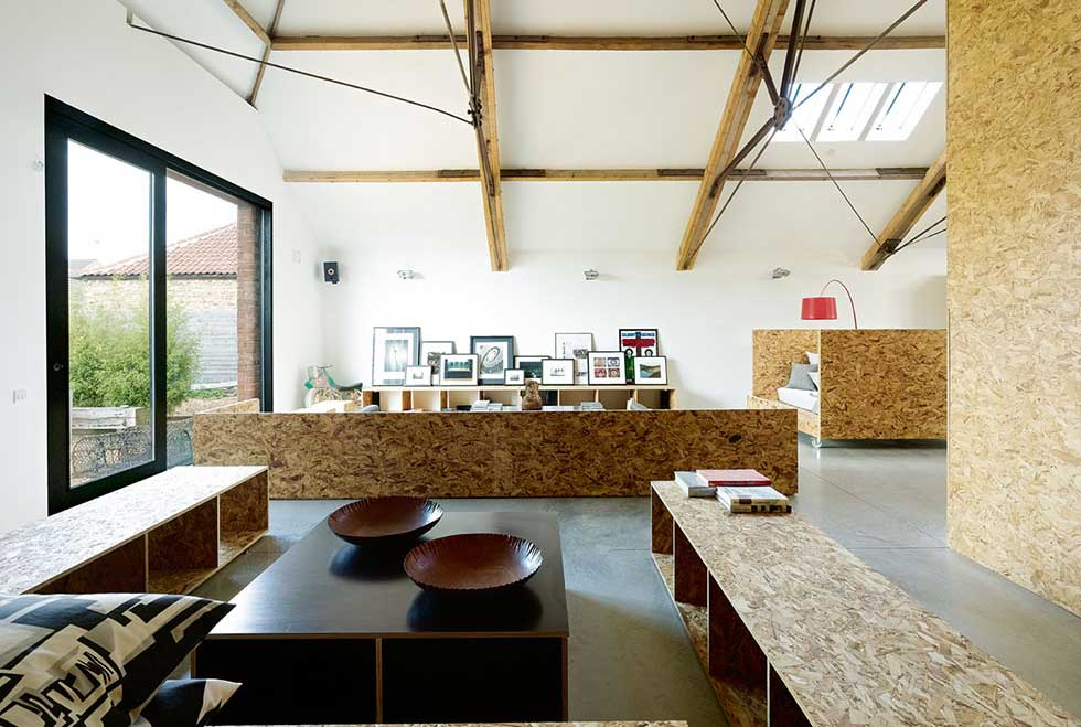 Open plan interior incorporating exposed OSB