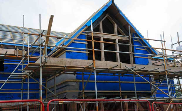The north elevation ready for slates
