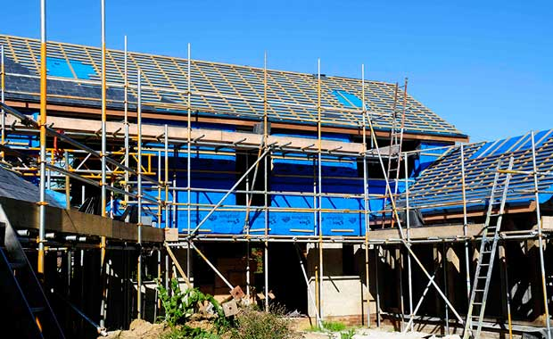 The south facing elevation ready for slates