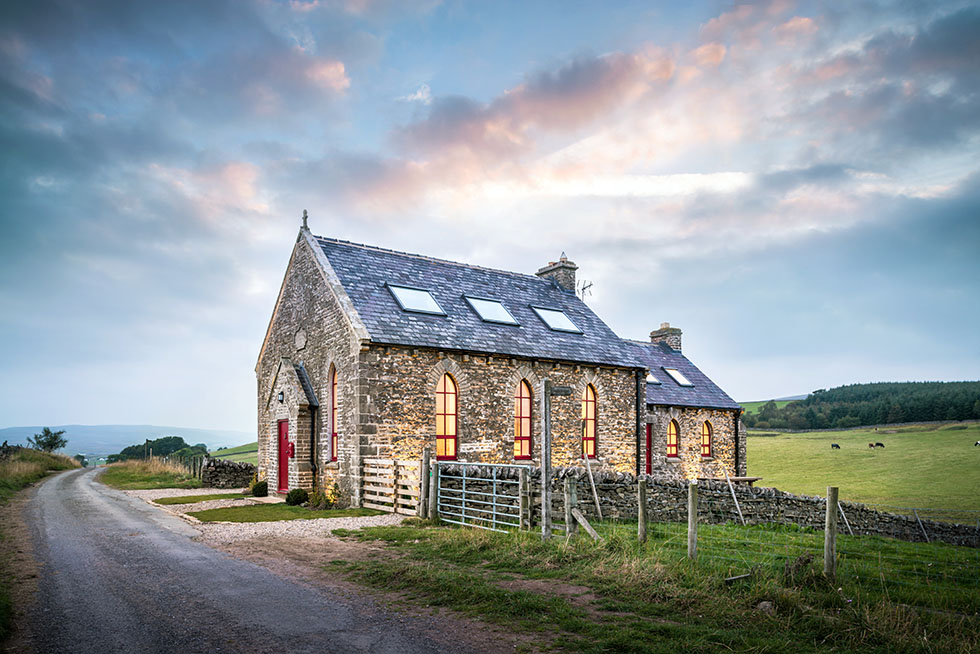 Exterior shot of an eclectic chapel conversion
