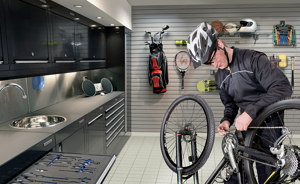 garage from Dura with equipment for cyclists