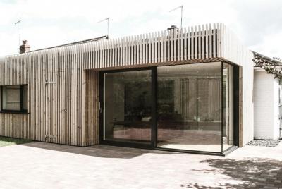Cedar-clad extension