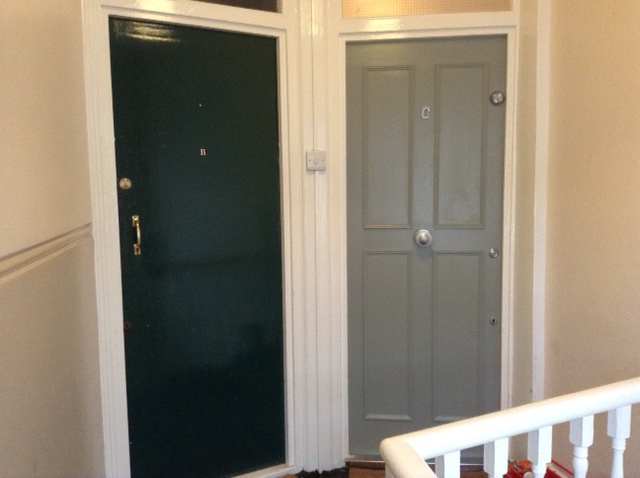 internal front door to a london mansard loft flat in pigeon