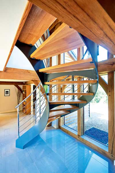 Statement helical oak and steel staircase
