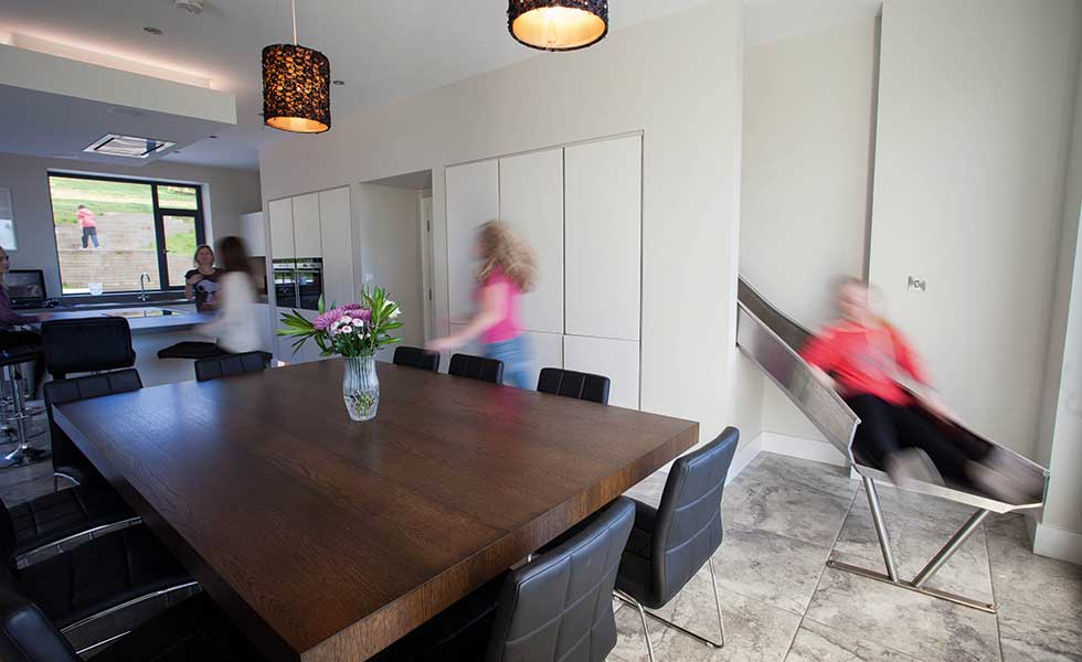 kitchen in a family home with a slide