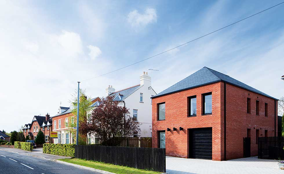 Modern brick home in belfast with red brick
