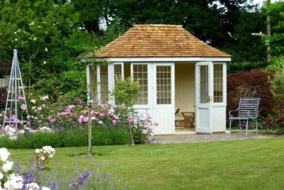White summerhouse- Garden Affairs