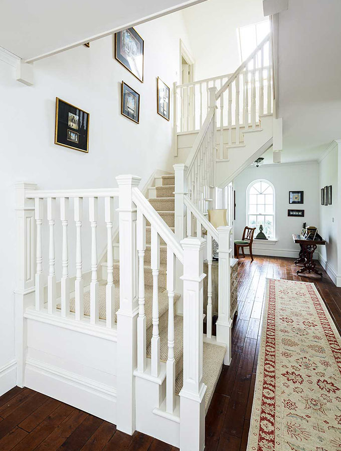 american style white staircase
