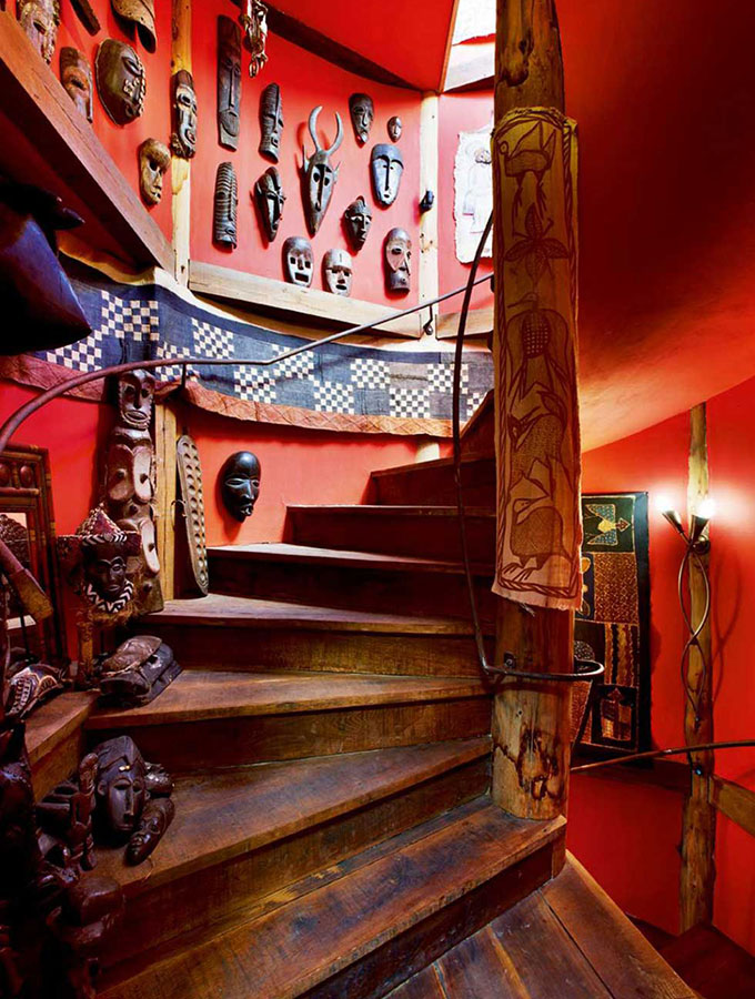 unique staircase with masks