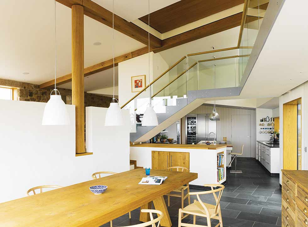 Dynamic ceiling kitchen diner beams