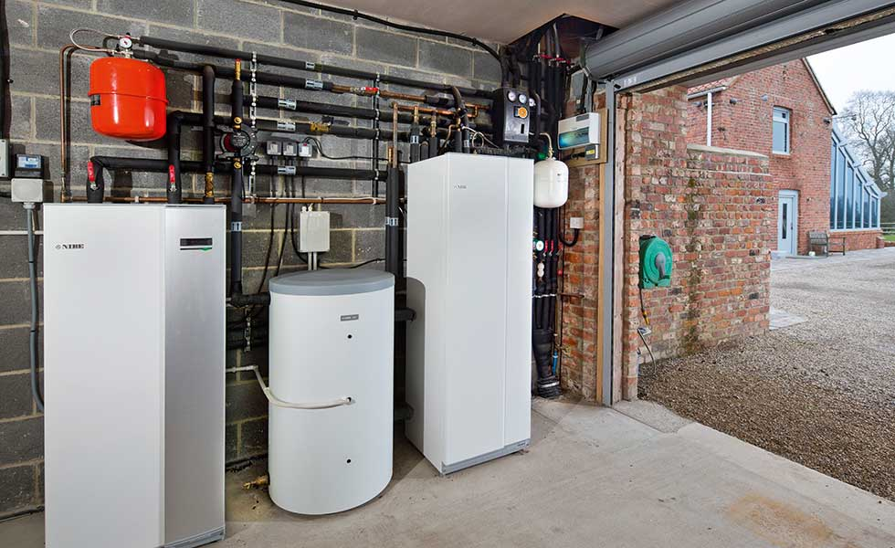 Highfield Cowper House plant room for heat pump