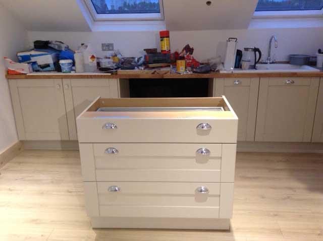 removeable base unit in loft conversion kitchen