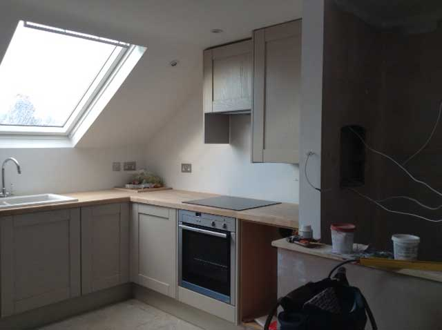 corner of a loft conversion with skylights