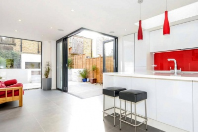 Rear house extension - Kitchen and garden view