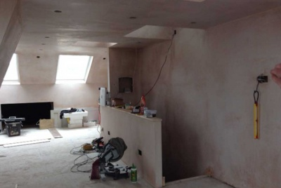 mansard roof loft conversion plastering kitchen