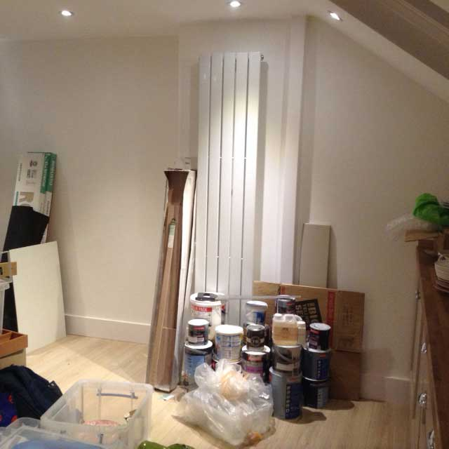 streamlined vertical radiator in loft conversion