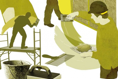 plasterer graphic illustration