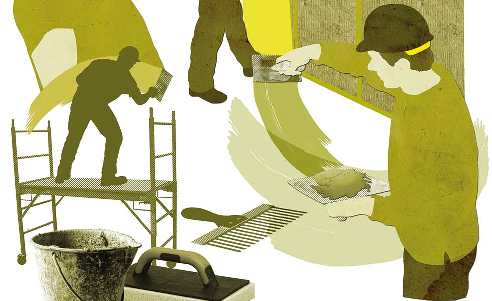 plasterer graphic illustration