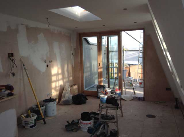 plastered loft space ready for painting