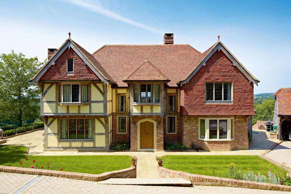 traditional oak frame home built with local materials and labour