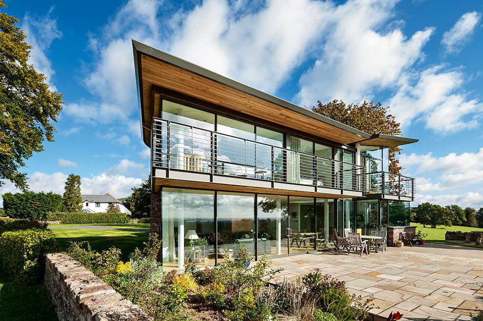 striking contemporary self build house with glazing