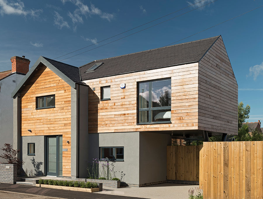 contemporary home with timber cladding
