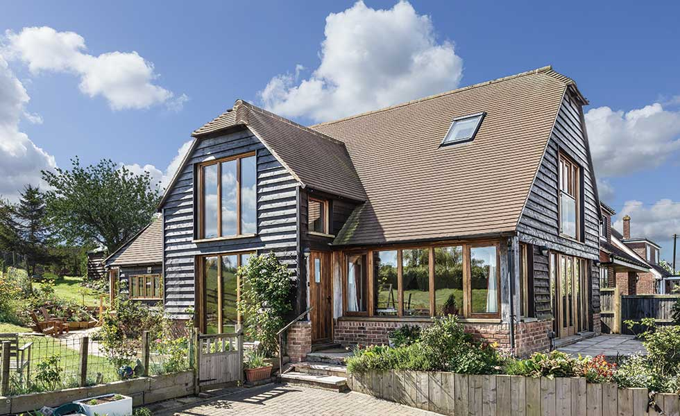 striking oak frame home exterior