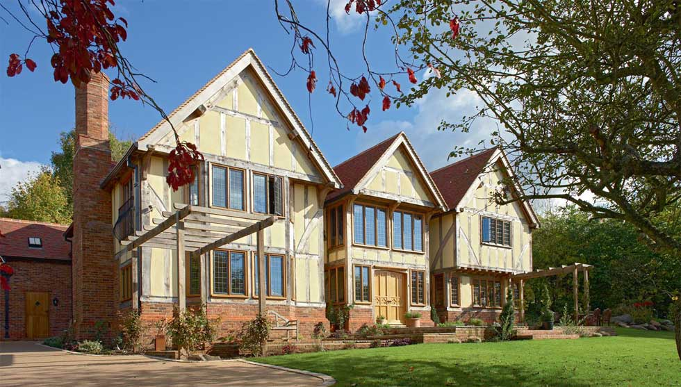 traditional oak frame house exterior