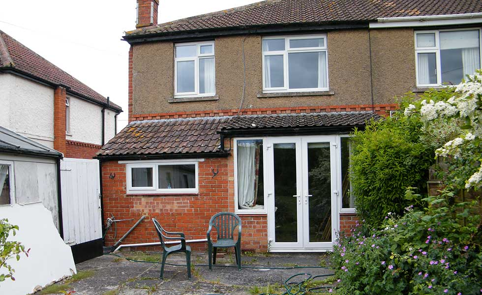 before kitchen extension 1930s home with 1960s extension