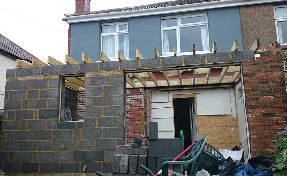 rebuilt extension before the roof and doors
