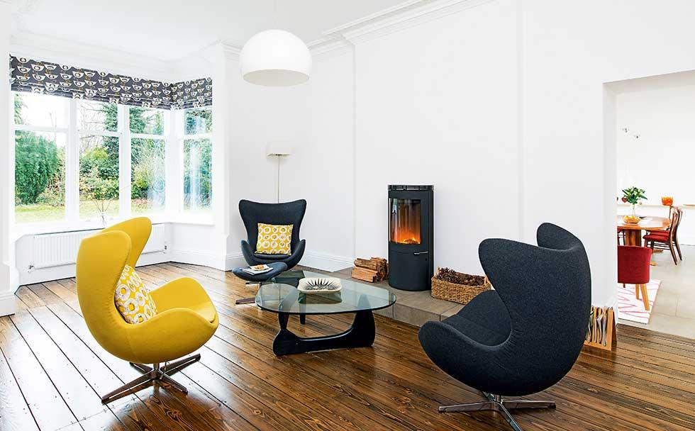 Victorian villa white modern living room