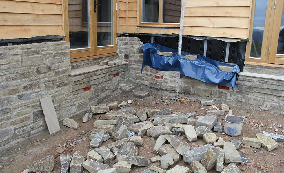 wall under construction with Sure Cav 50 cavity wall