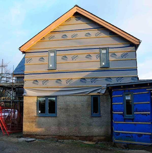 casement windows on the west elevation of hempcrete oak frame self build