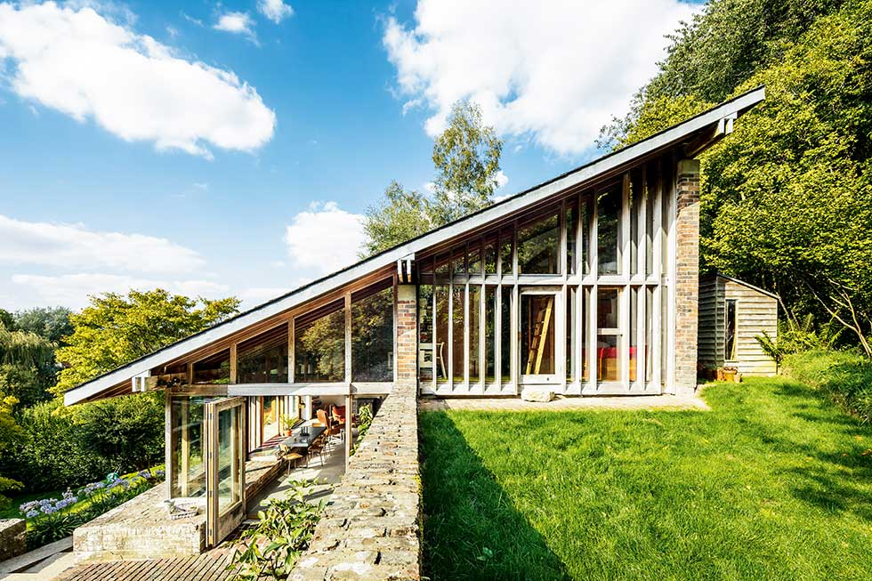 sloping roof 1960s house exterior