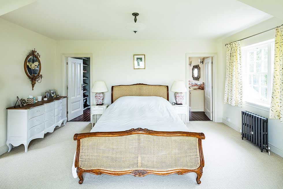 American-style self build neutral master bedroom
