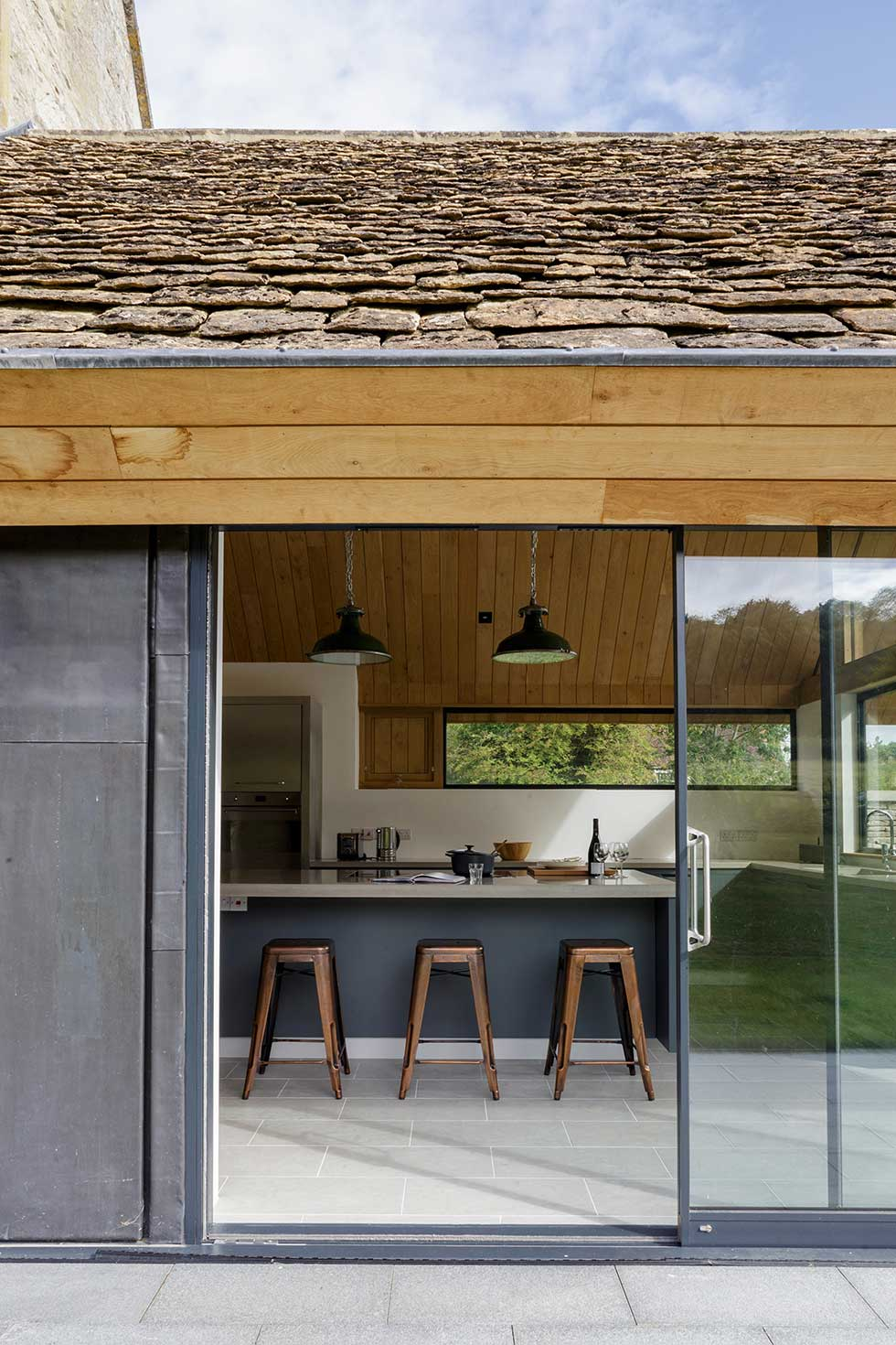 listed cottage extension sliding doors