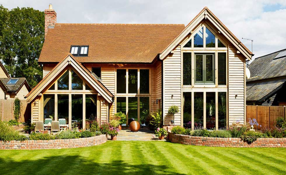 oak frame home with glazed gables