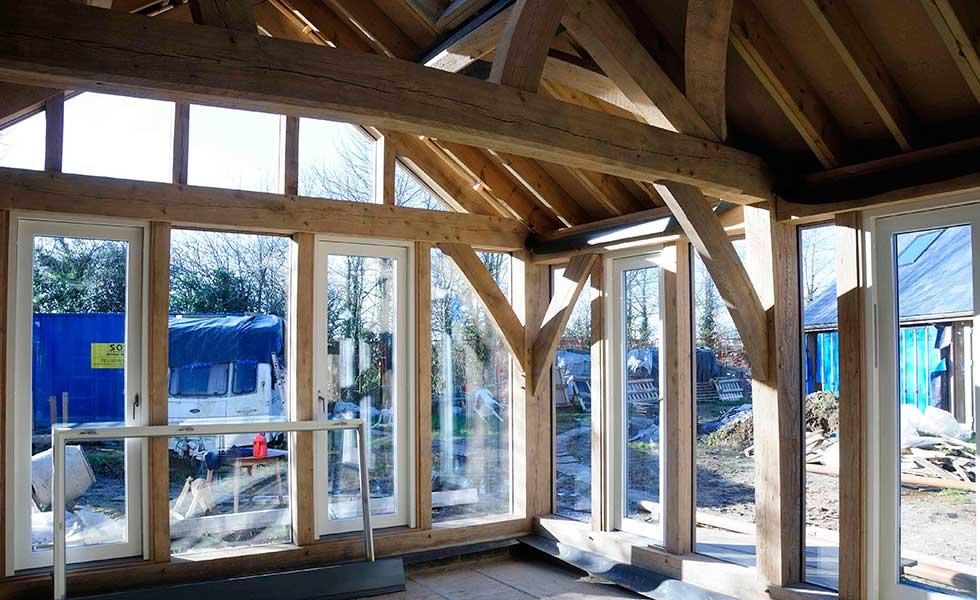 barn room interior with glazing