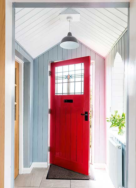 Tin Chapel renovation red front door