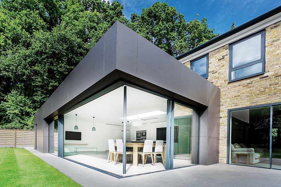 modern home rear extension exterior glazed corner