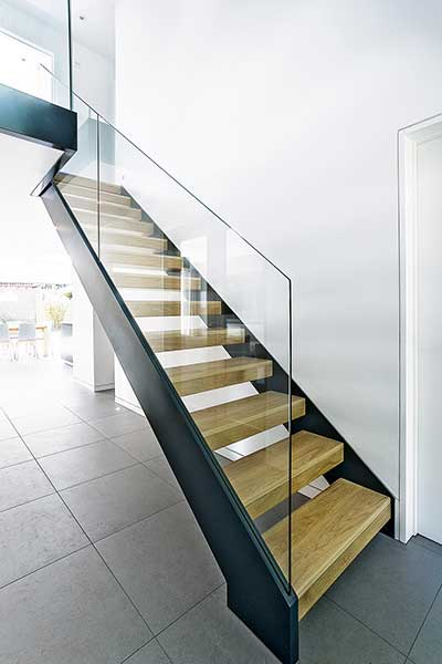 wood metal staircase in modern renovated home extensions