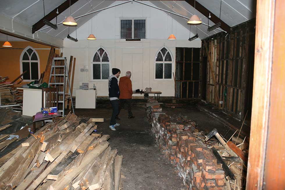 Tin Chapel renovation during work