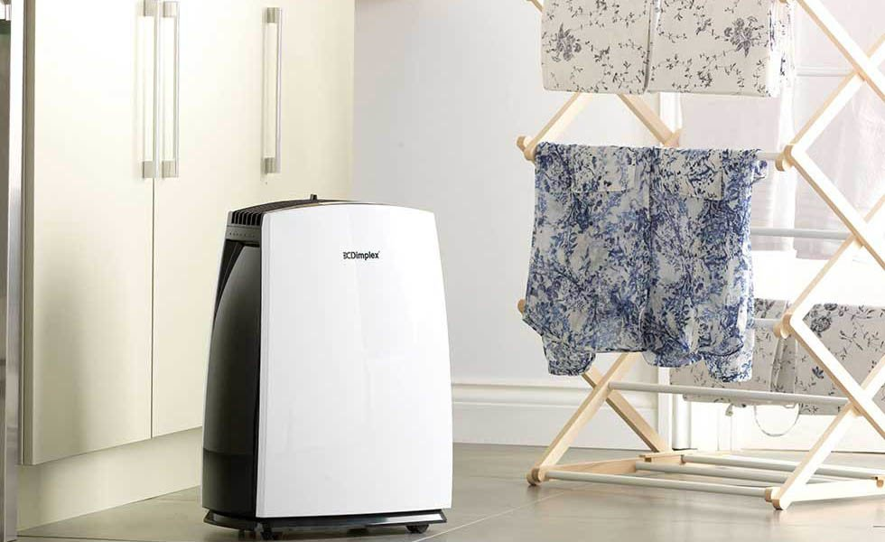 Dimplex forte room purifier and dehumidifier in a utility room