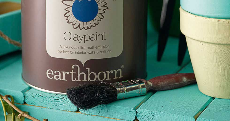 earthborn VOC free indoor clay paint and brush