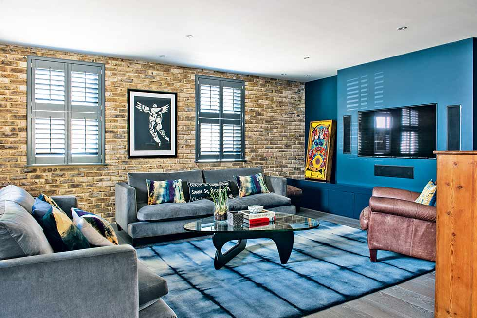 Self build exposed brick wall sitting room loft style