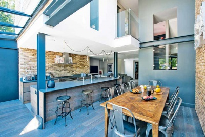 Loft style self build kitchen diner open plan