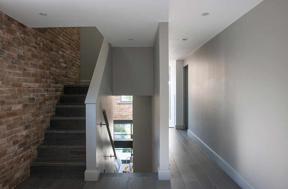 Loft style self build stairs landing