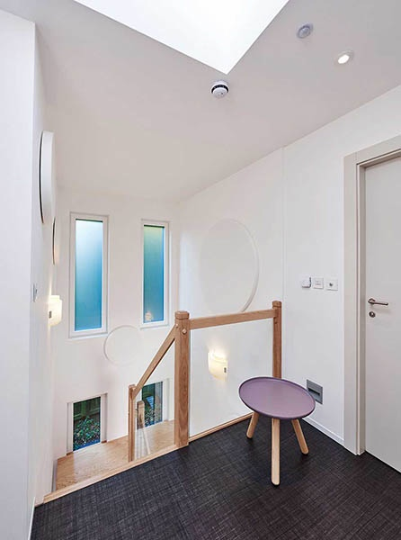 hall and landing with white walls and acoustic sound absorption panels from Sonata