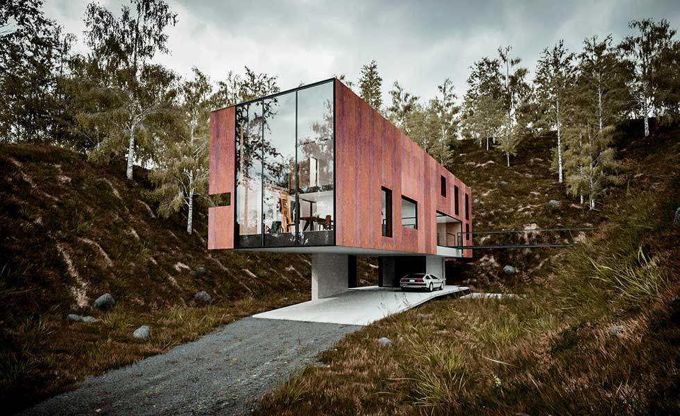 a cantilevered modern home in a quarry plot