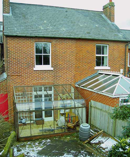 before image of a conservatory on a Victorian semi-detached